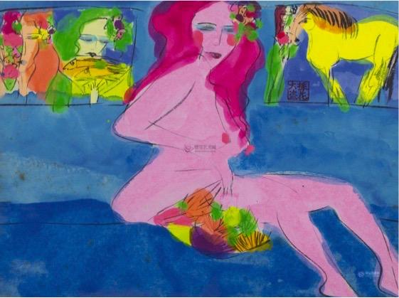 持扇红发女 | 22.5x30cm | 水墨丙烯纸本 | 1990 | 丁雄泉