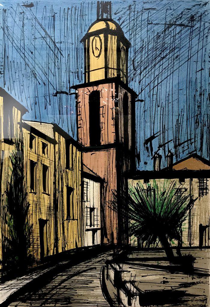 钟声和欧莫广场_80×64cm_贝尔纳·布菲(Bernard Buffet)_1979_签名版画